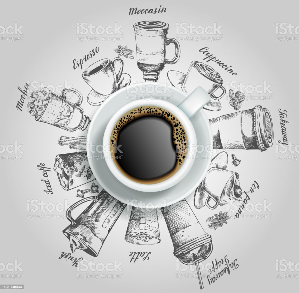Cup of coffee with coffee drinks vector creative illustration royalty-free cup of coffee with coffee drinks vector creative illustration stock illustration - download image now