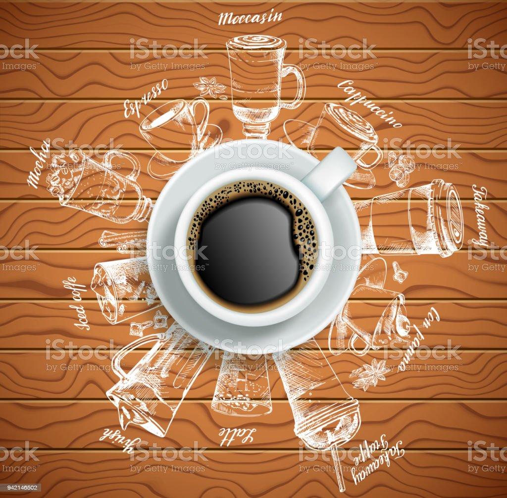 Tasse Kaffee Mit Kaffee Getränke Kreative Vektorgrafik Stock Vektor ...