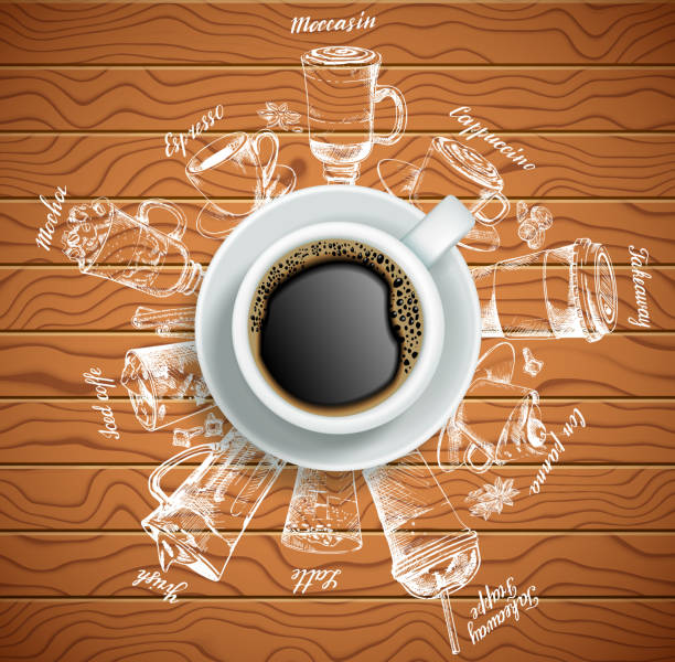 cup of coffee with coffee drinks vector creative illustration - cappuccino stock illustrations