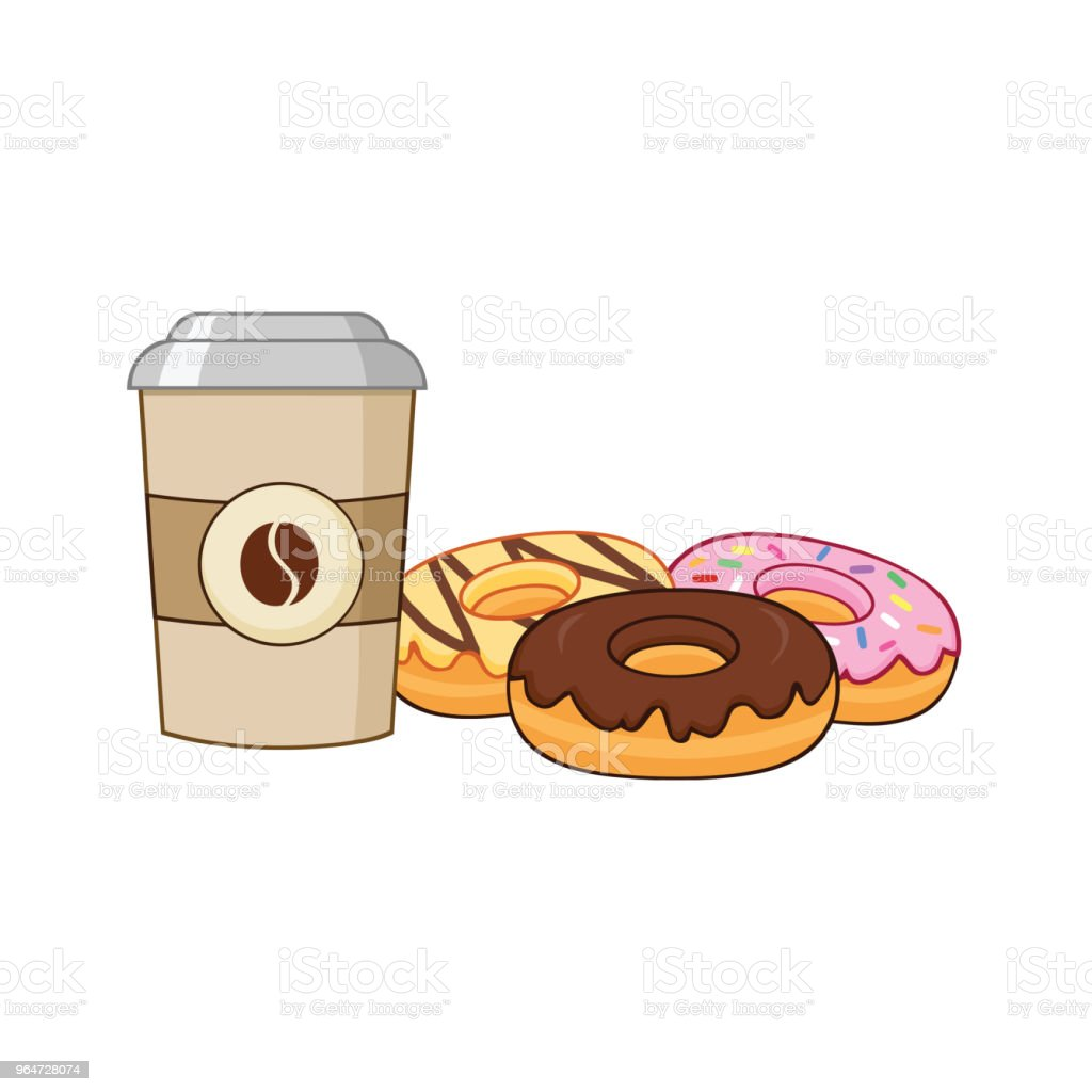 Cup Of Coffee With Donuts Graphic Design royalty-free cup of coffee with donuts graphic design stock vector art & more images of breakfast