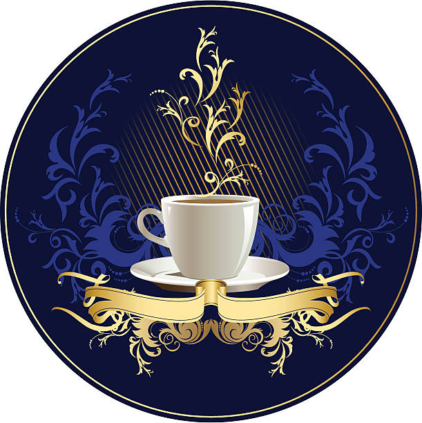 cup of coffee with floral design elements. - stacked tea cups stock illustrations, clip art, cartoons, & icons