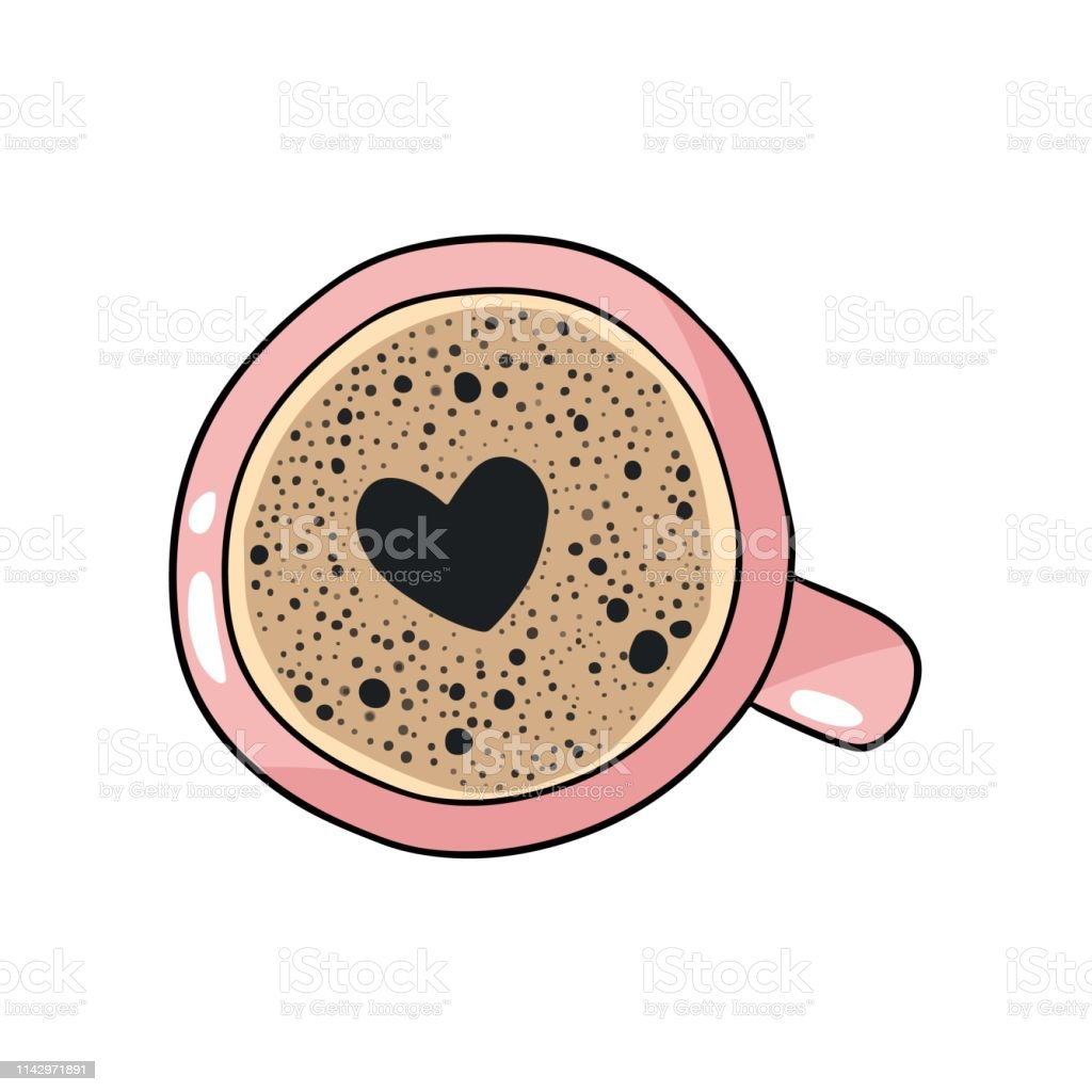Cup of coffee with heart foam shape. Hand drawn cartoon style coffee beverage drink - Royalty-free Art stock vector