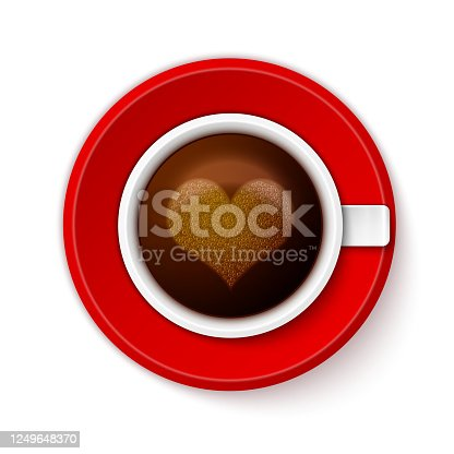 istock Cup of coffee with heart 1249648370