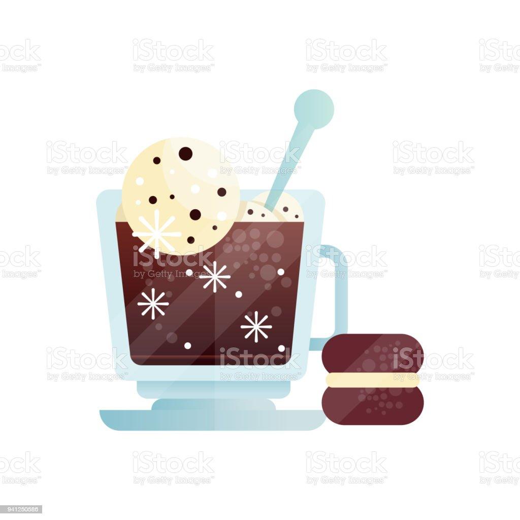 Tasse Kaffee Mit Eis Ball Leckere Kalte Getränke Und Schokolade ...