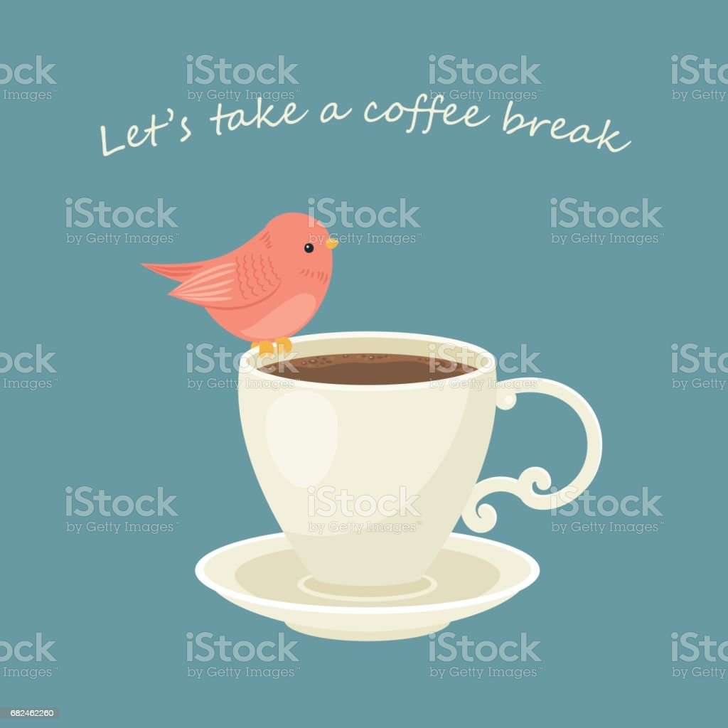 Cup of coffee with little bird royalty-free cup of coffee with little bird stock vector art & more images of animal