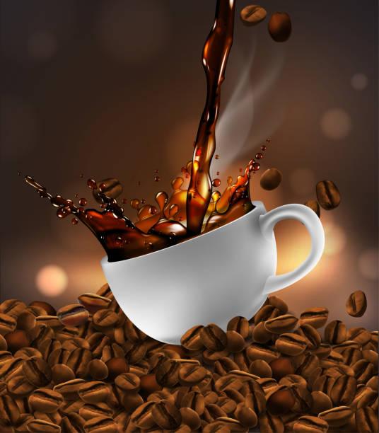 ilustrações de stock, clip art, desenhos animados e ícones de cup of coffee with splash effect, coffee beans, transparent background.  3d vector. high detailed realistic illustration - café solúvel