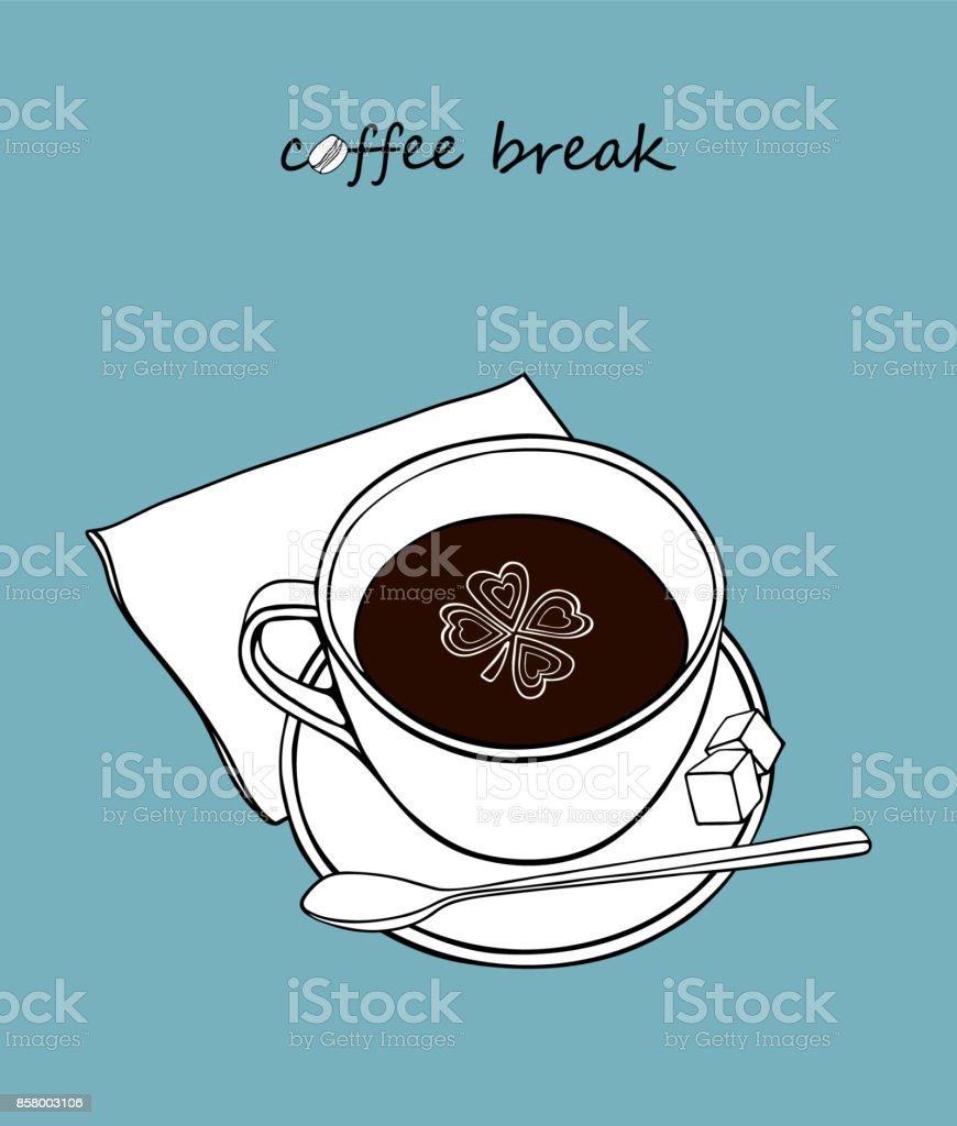 Xícara de café com açúcar e a colher. - ilustração de arte em vetor