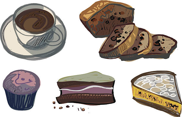Cup of Coffee with Various Cakes vector art illustration