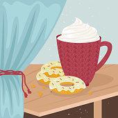 A Cup of coffee with whipped cream and doughnuts. Flat vector illustration.
