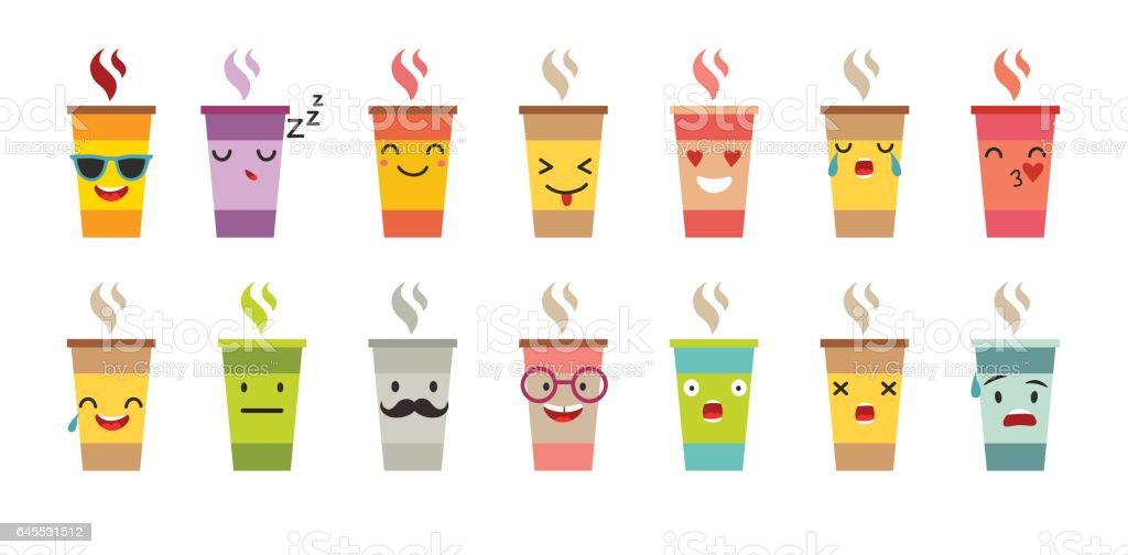 Cup of coffee/tea vector set. vector art illustration