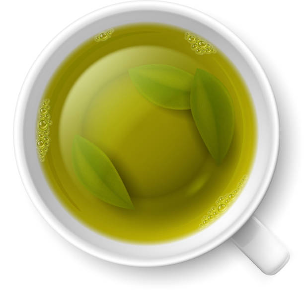 cup of green tea - stacked tea cups stock illustrations, clip art, cartoons, & icons