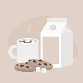 Cup of hot chocolate with marshmallows and chocolate chip cookies, still life set. Morning dessert / flat editable vector illustration, clip art