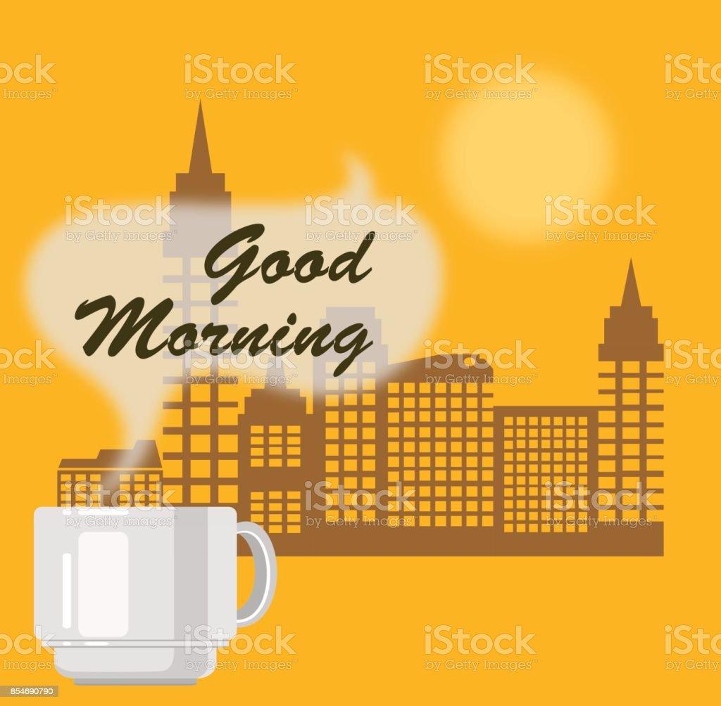 Tasse Heißen Kaffee Und Stadt Gebäude Im Hintergrund Guten