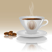 A cup of hot coffee on a beige background with realistic coffee beans. Vector illustration.