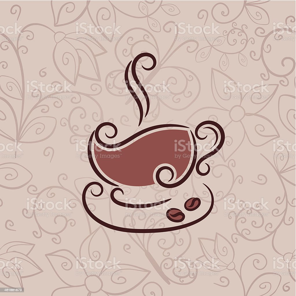 Cup of hot coffee royalty-free stock vector art