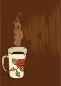 Vector file of the cup of the hot drink with wooden pattern in the background. Easy to change colours of the all elements. Hi res JPEG and PDF files are included in the bundle