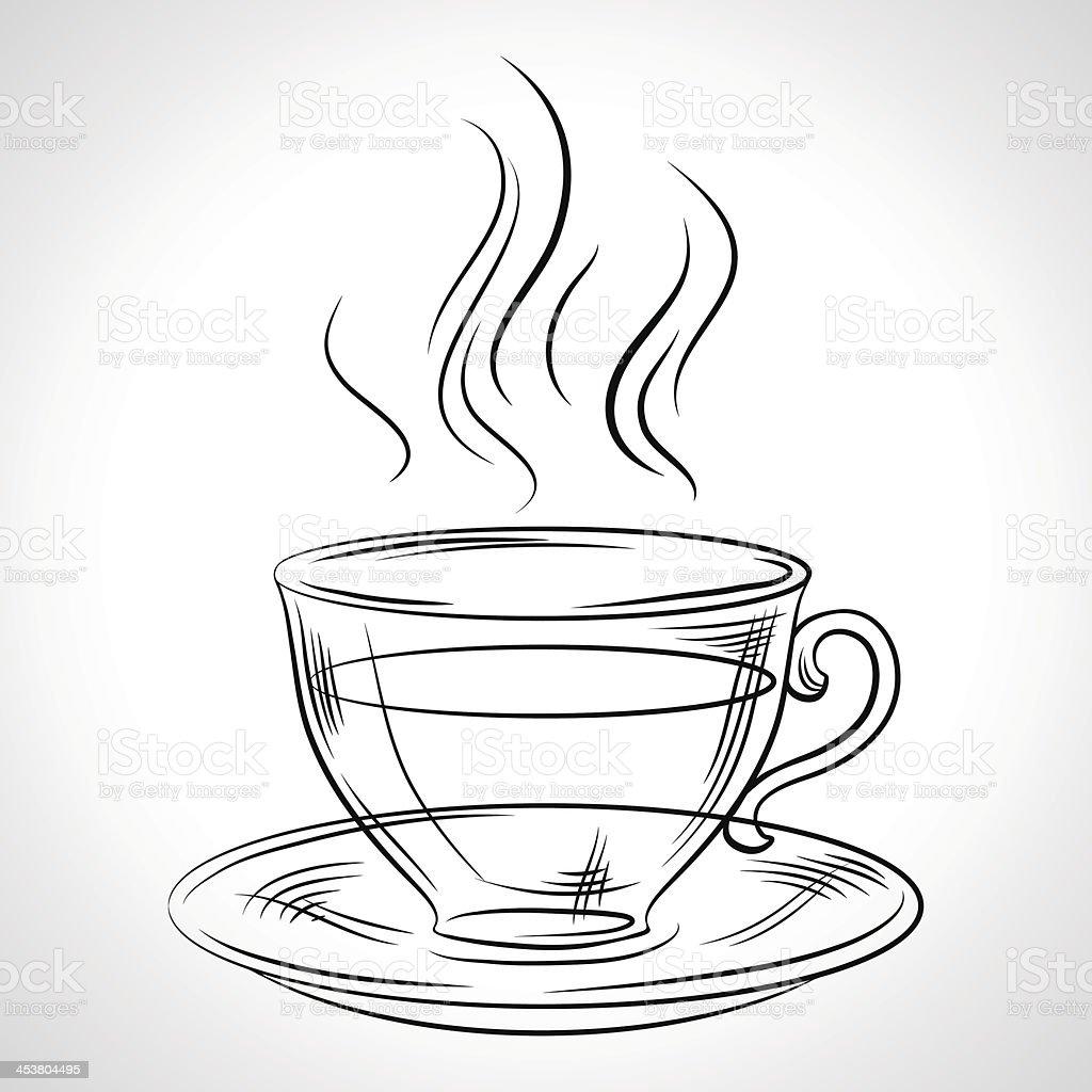 Cup (mug) of hot drink (coffee, tea etc) royalty-free stock vector art