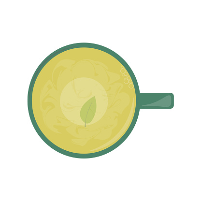 A cup of hot green tea with a leaf on the bottom