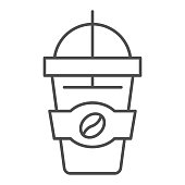 Cup of latte thin line icon, Coffee time concept, Takeaway paper coffee cup sign on white background, Hot drink with coffee bean symbol in outline style for mobile, web design. Vector graphics