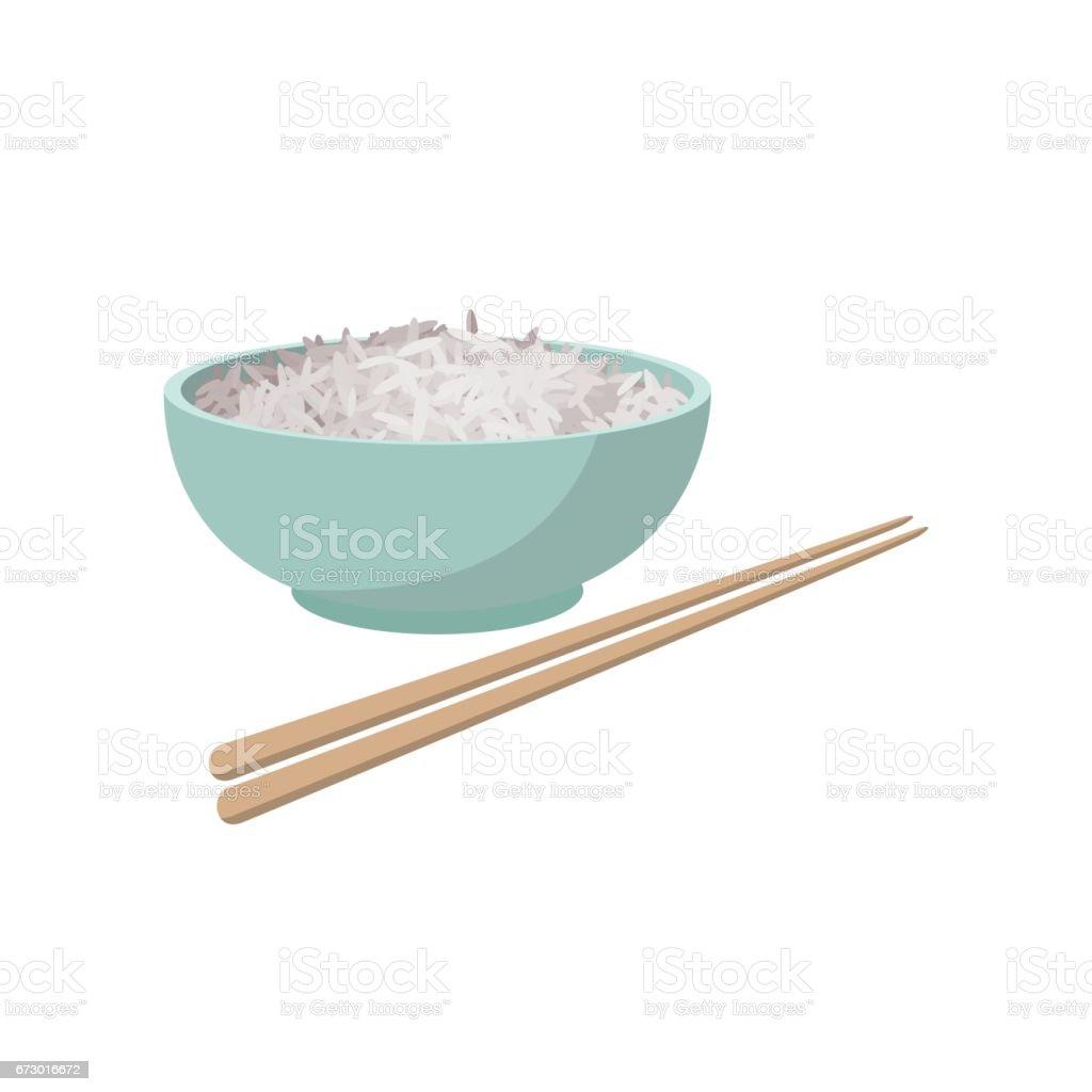 Cup of rice, cartoon style vector art illustration