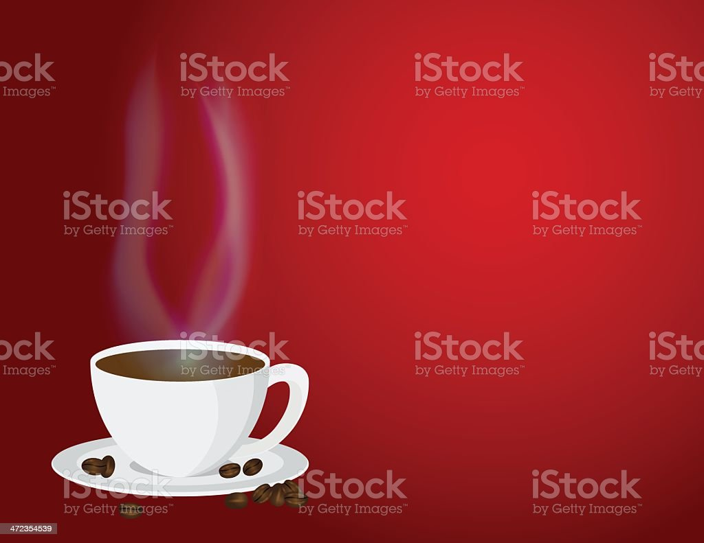 Cup of Steaming Hot Coffee and Beans Vector Illustration royalty-free cup of steaming hot coffee and beans vector illustration stock vector art & more images of backgrounds