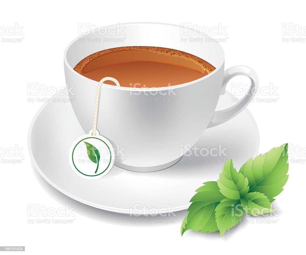A cup of steeped tea with a green leaf on the side vector art illustration