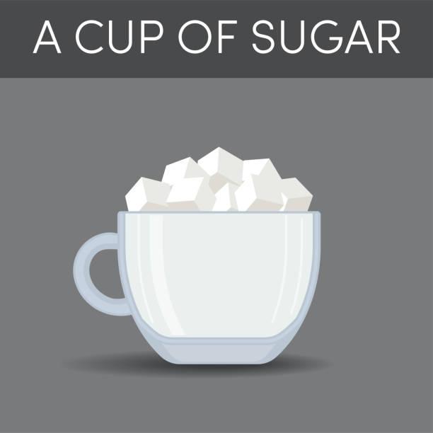 ilustrações de stock, clip art, desenhos animados e ícones de a cup of sugar, vector - açúcar