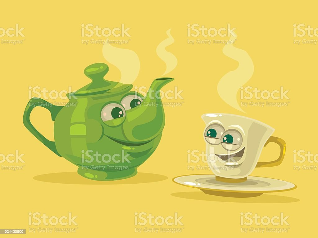 Cup of tea and tea pot characters vector art illustration
