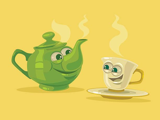 cup of tea and tea pot characters - herbata gorący napój stock illustrations