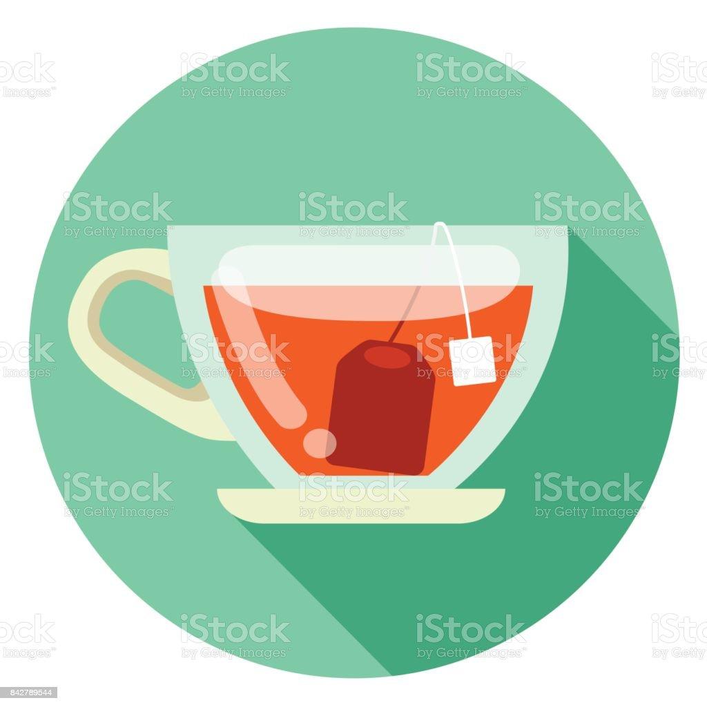 cup of tea flat design icon vector art illustration