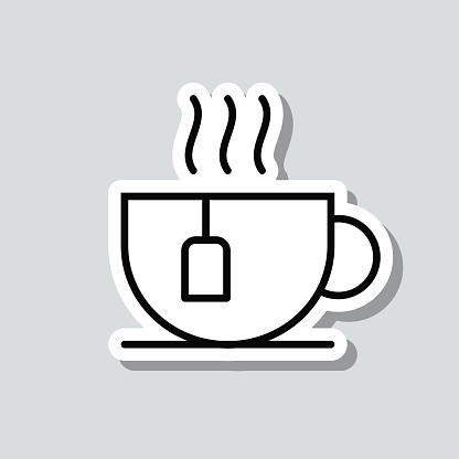 Cup of tea. Icon sticker on gray background
