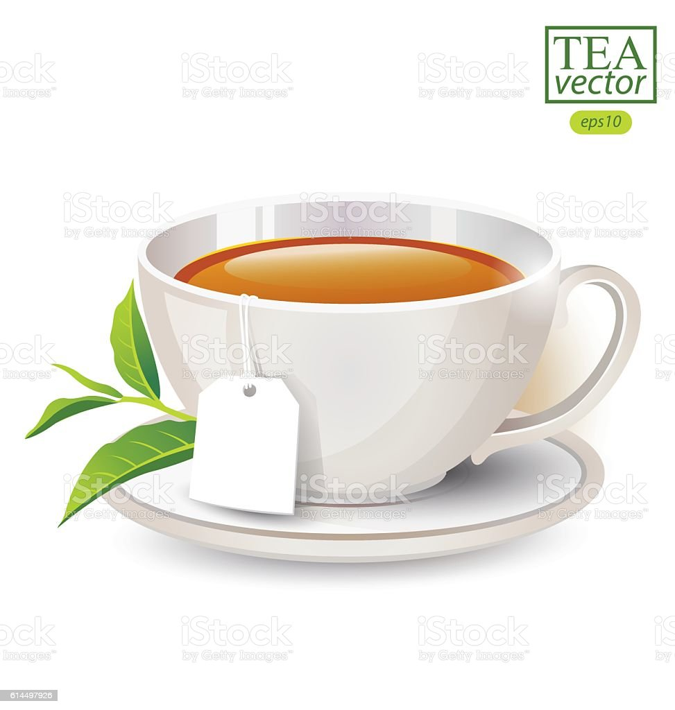 Cup of tea isolated on white background. Vector illustration. vector art illustration