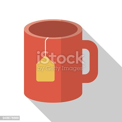 istock Cup of tea on white background with long shadow 948678888