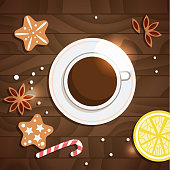 Cup of tea or coffee at the Christmas table. Vector. Cartoon. Isolated art. Flat