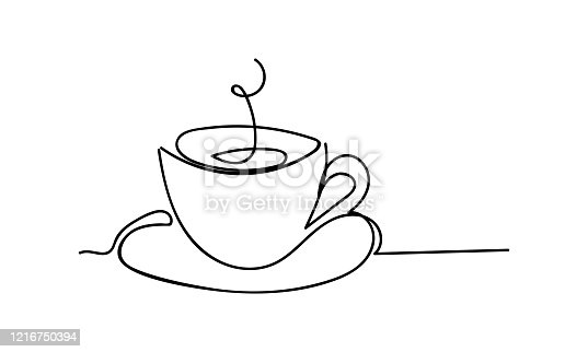 istock Cup of tea or coffee. Line drawing. - Vector illustration. 1216750394