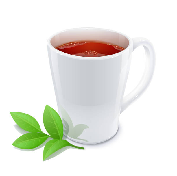 cup of tea with green leafs - stacked tea cups stock illustrations, clip art, cartoons, & icons