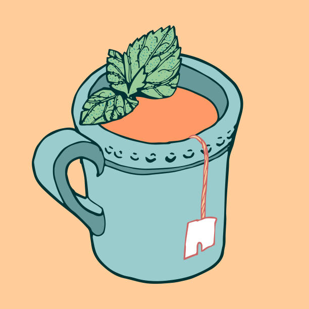 Cup of Tea with Mint vector art illustration