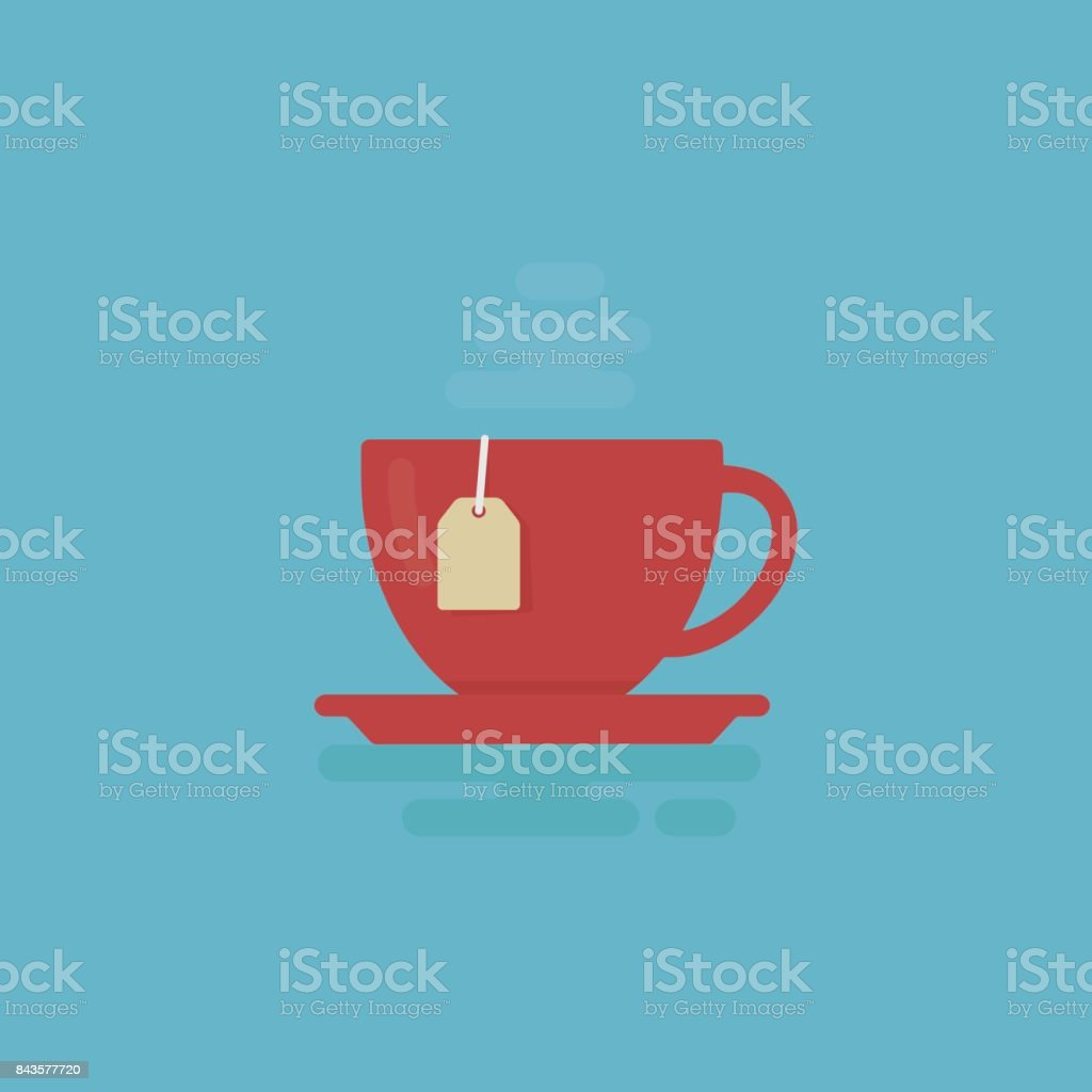Cup Of Tea With Steam Illustration. Tea Time Concept vector art illustration
