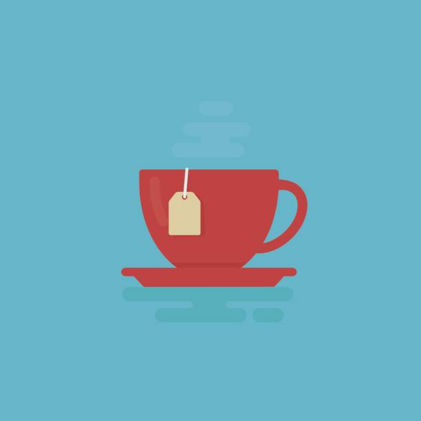 Cup Of Tea With Steam Illustration. Tea Time Concept Cup of Tea Isolated on Flat Design teapot stock illustrations