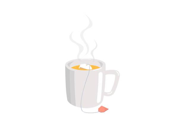 ilustrações de stock, clip art, desenhos animados e ícones de a cup of tea with tea bag isolated on white background. - chá bebida quente