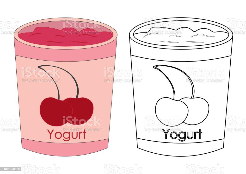 Yogurt Ile Kiraz Renkli Ve Siyah Beyaz Renkli Bardak Vektor Cizim