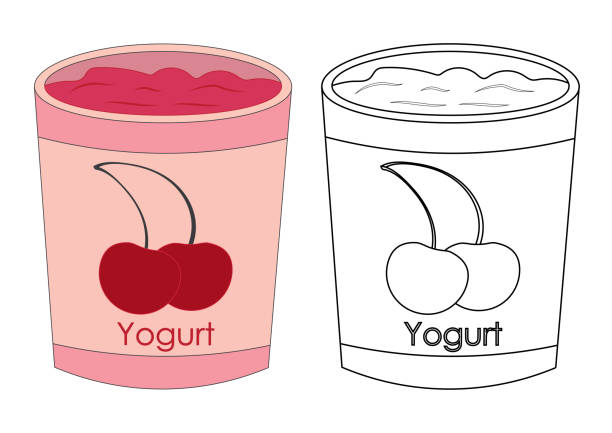 Royalty Free Cherry Yoghurt Milk Or Cream Cartoon ...