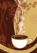Vector illustration of white cup on dark background