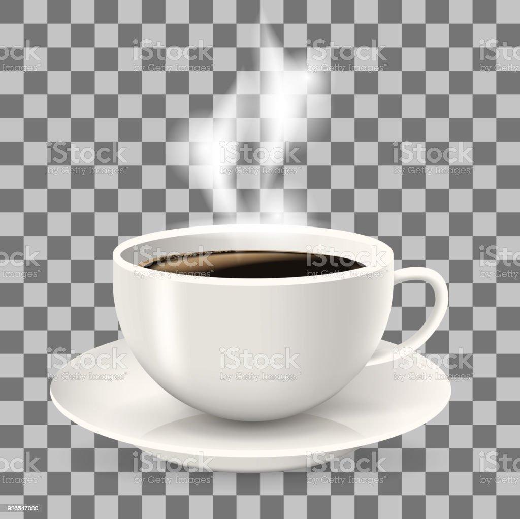 Tasse Auf Untertasse Heißen Kaffee Mit Dampf Stock Vektor Art und ...