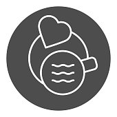Cup on saucer with heart solid icon. Hot drink on plate with love symbol, glyph style pictogram on white background. Coffee or cafe sign for mobile concept and web design. Vector graphics