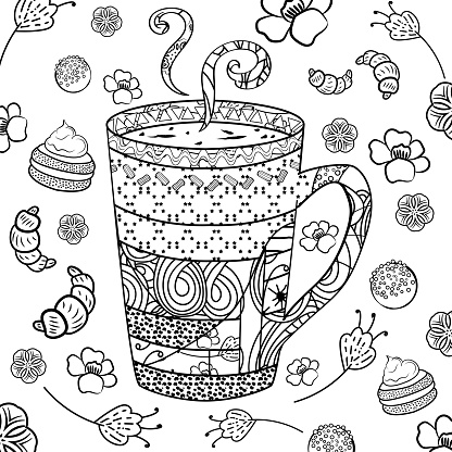 A cup tea or coffee in zenart style for coloring page, surrounded by baking and flowers. Cup with abstract patterns in the style of zentangle, doodle. - Vector graphics.