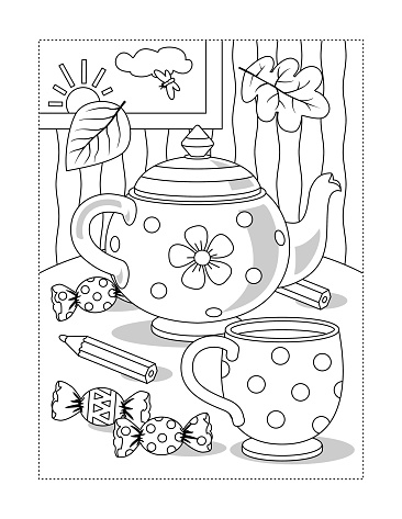 Cup, teapot, candy coloring page