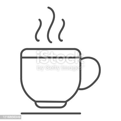 Cup thin line icon. Hot coffee drink or tea mug on plate symbol, outline style pictogram on white background. Business and cafe sign for mobile concept and web design. Vector graphics