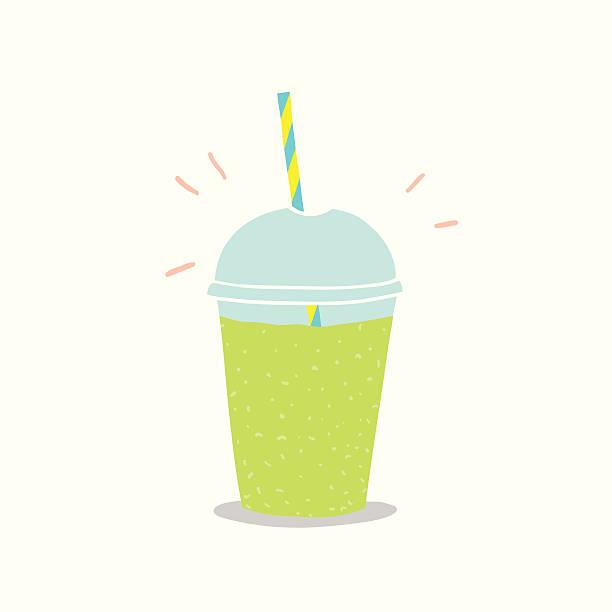 bildbanksillustrationer, clip art samt tecknat material och ikoner med cup to go with green smoothie - smoothie
