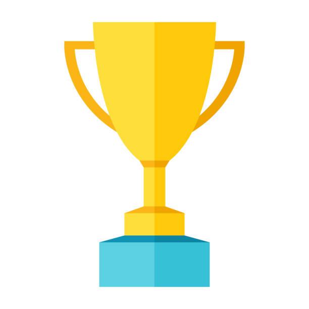 kupası kupa ödülü düz simgesi - renk illüstrasyon - kupa ödül stock illustrations